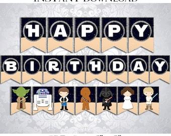 50% OFF SALE Banner Star Wars Happy Birthday, PDF Instant Download