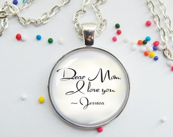 CLEARANCE! Mother's Day Necklace - Personalized Necklace for Mom - Dear Mom I love you - Mother's Day jewelry