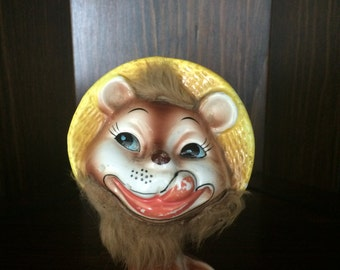Vintage Kitschy Japan Lion with Fur whiskers trim Figurine 1955
