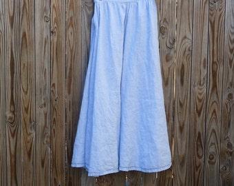 Full Pale Blue A-Line Linen Skirt Garb Skirt SCA Garb