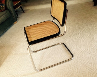 Vintage Mid Century Modern STYLE 1970's  Marcel Breuer Cesca Cantilever CHAIR - one piece Tubular Chrome and Cane  - Excellent