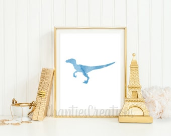 Velociraptor Light Blue Watercolor Wall Art Printable. Printable Dinosaur Wall Art for Little Boys Room. Raptor Dinosaur Printable