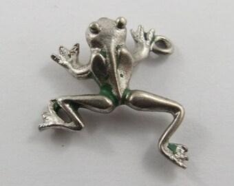Frog With Green Enamel Sterling Silver Vintage Charm For Bracelet