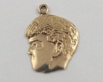 Boy's Head 10K Gold Vintage Charm For Bracelet