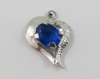 Heart With Blue Stone Sterling Silver Vintage Charms For Bracelet