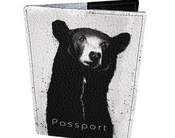 Leather passport cover - Passport holder - Genuine leather - Handmade passport cover - Original gift - Bright design - Graffiti Bear - #111