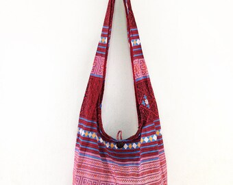 Hmong Pattern Print Sling Shoulder Bag CrossBody Bag Cotton Hippie Boho Style Handmade Red