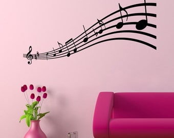 Musical Notes Black Scales Design Wall Decal