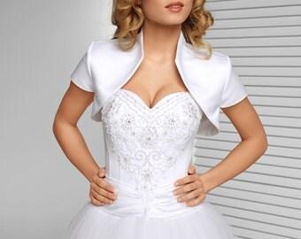 Short sleeved Satin Bridal Jacket | Satin Bolero in White, Ivory and Black