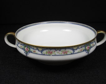 """Haviland Limoges China Bouillon Bowl, Double Handled Soup Bowl """"Troy"""" Blue Scroll Pink Roses,Antique 1903 Limoges, France Mark q Replacement"""