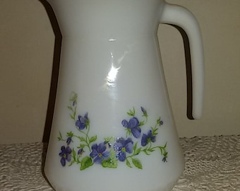 French Vintage / pitcher style Arcopal opal glass decorated with violets