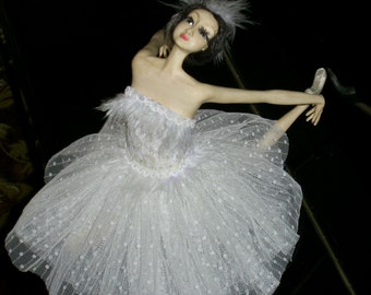 "OOAK  Art doll  ""Ballet Dancer"" porcelaine clay doll unique doll  Author Interior Doll  handmade"