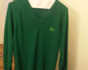 Vintage Mackinac Island, V-neck sweater,in green,soft 100% Orlon Acrylic, Women's size Large, from Grand Hotel,Mackinac.