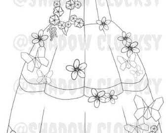 Springtime Dress Design Digital Stamp