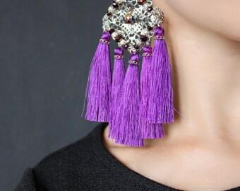 Purple Silk Tassel Earrings Leyla, Large Earrings, Fringe Earrings
