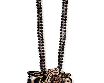 statement necklace black & gold handmade bohemian jewelry festival soutache jewelry long beaded necklace gift women Boho art deco jewelry
