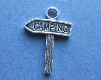 10 Camping Charms - Camping Pendants - Camping Sign - Camping - Antique Silver - 22mm x 16mm -- (No.140-10572)