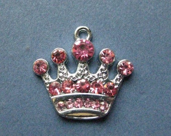 5 Rhinestone Crown Charms - Rhinestone Crown Pendants - Princess Charm - Princess Crown Charm - Rhinestone Crown -21mm x 20mm (H6-10885)