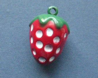 3 Strawberry Bell Charms - Strawberry Bell - Fruit Charm - Fruit Pendant - Bell - Strawberry - Enamel Charm - 18mm x 20mm -- (No.73-10177)