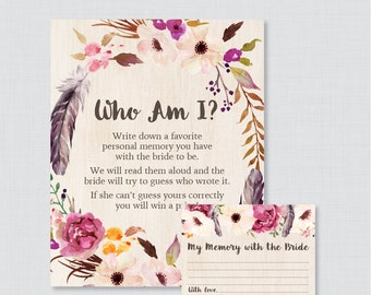 Boho Who Am I Bridal Shower Game - Printable Bohemian Bridal Shower Memory Game - Memory With the Bride Guessing Game - Floral Boho 0006