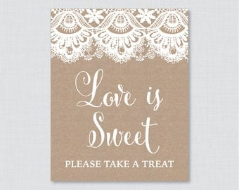 Printable Burlap and Lace Love is Sweet Favor Sign - Printable Rustic Shower Favor Table Sign - Love is Sweet Take a Treat Sign 0003