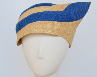 Blue and Natural Straw Snail Hat