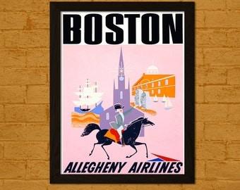 Get 1 Free Print *_* Boston Travel Print - Airlines Travel Poster Wall Decor Wall Art Home Decor Retro Travel Dorm Poster Boston Poster