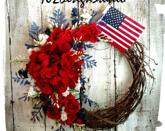 Patriotic Wreath, Fourth of July Wreath, Military Wreath, Memorial Wreath, Welcome Wreath, Patriotic Door Hanger, Red,White,Blue Wreath,