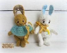 Artist teddy bunny 3.9inches Author teddy rabbit OOAK teddy vintage Gift for mother Stuffed bunny animal Plush Free shipping worldwide