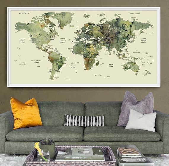 World map push pin World map with countries art by FineArtCenter – Push Pin Travel World Map