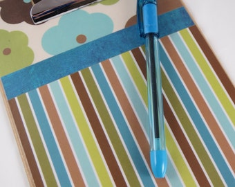 Mini Clipboard, Decorative 6 x 9 Clipboard, Note Sized Clipboard, Cute Office and School Supplies, Floral and Striped Clipboard, Decoupage
