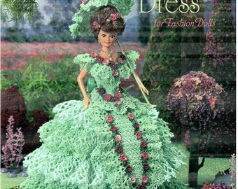 Felicity's Garden Party Dress, pattern fits Barbie. Design by Wanda Spears, Annie Potter Presents fashion doll crochet pattern 01010997.