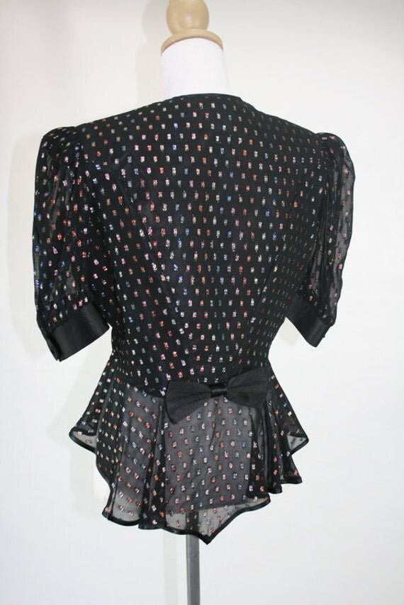 1980s S/M DOLINA black metallic spot peplum blouse 36/29/-