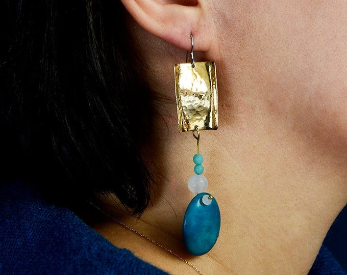 Featured listing image: Duster gold earrings, tagua jewelry, turquoise bead drop, hammered earring, extra long earring, shoulder earrings, chunky statement earring.