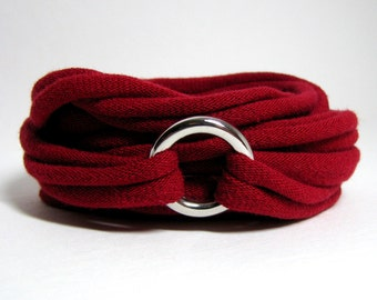 Wrap T-shirt Bracelet, Recycled Bracelet, Red Bracelet, T-Shirt Jewelry, Eco Bracelet, Eco-Friendly Jewelry, Repurposed Silver Jewelry