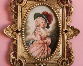 Amazing French Antique Miniature Portrait (signed by Vernier, 19th century)