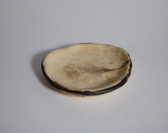Delicate pressed feather small ceramic plate
