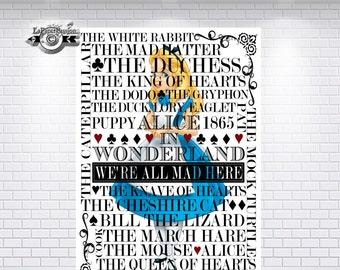 Alice in wonderland, Wall Art, Nursery print, We're all mad here,Typography print, Room Decor, Girls decor,