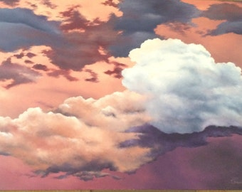 Large Original Cloud Oil Painting - Hand Painted - Ready to Hang