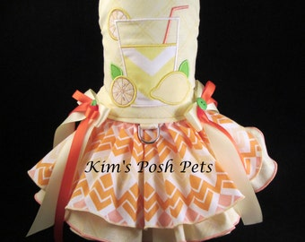 Dog Dress _ Lemonade Dog Dress _ Dog Tutu _ Summer _ Embroidery _ Kims Posh Pets