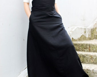Black Linen Skirt/ Loose Linen Dress/ Maxi Skirt/ Long Skirt/ Linen Jumpsuit/ Extravagant Skirt/ Black Linen Dress/ Loose Skirt  S0006
