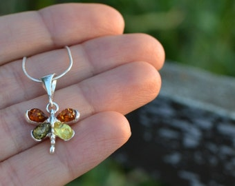 Amber Butterfly Pendant, baltic amber jewelry, amber butterfly necklace, amber gift