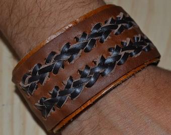 hand made leather bracelet with secret pocket