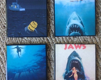 JAWS Movie Poster Ceramic Tile Coasters  new!!! Set of 4! Mix & Match
