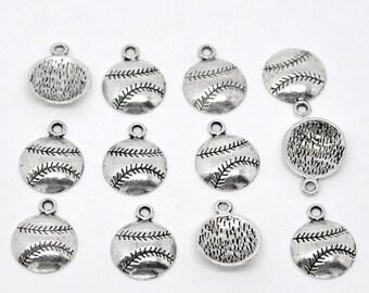 50 Baseball Charms, Softball Charms Antique Silver, 2662, 312a