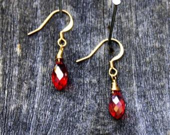 Red Iridescent Crystal Earrings, Red Crystal Earrings, Crystal Earrings, Red Earrings, Wire Wrapped Earrings, Dainty Earrings,, Wedding