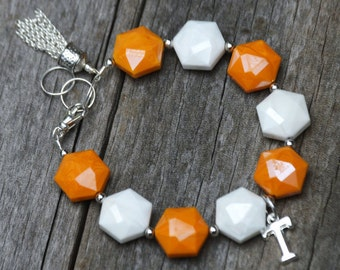 Tennesse Vols Bracelet, Vols Bracelet, Tennessee Volunteers Bracelet, Orange and White Volcano Glass Bracelet, Tennessee Bracelet