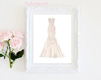 Custom Dress Illustration, Wedding Dress, Ball Gown, Prom Dress, Wedding Gift, Wedding, Bride, Bridal
