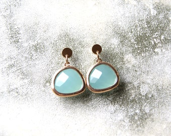 Gold Framed Aqua Faceted Glass Drop Earrings with Gold Filled Earring Posts, Bridesmaid Earrings