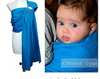 Baby carrier, Linen Ring sling, Baby ring sling, Baby wrap, Sling, GuGaSling Vibrant Cyan, Gift bag